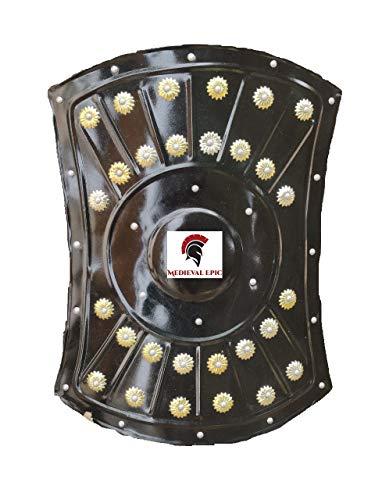 Escudo de hierro de 18 pulgadas de armadura bárbara medieval vikingo, hecho a mano, funcional, guerrero, escudo de metal, color negro