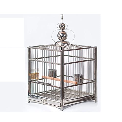 ZHANGJINYISHOP2016 Jaula Myna Gran Jaula de pájaros de Acero Inoxidable Budgerigar Craying Cage COCKATEL Peony Parrot Parrot Cause para cacatudes, pinzones Jaula para (Color : A)