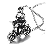 COOLSTEELANDBEYOND Vintage Cráneo Esqueleto Montar en Motocycle Bicicleta Colgante, Collar de Hombre Muchachos, Acero, Bola Cadena 60CM