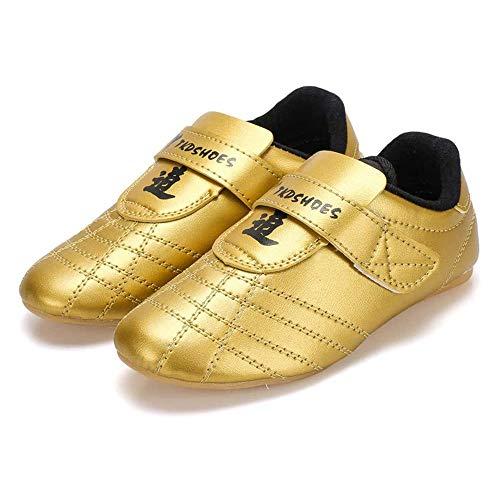 Meng Zapatos De Taekwondo, Zapatillas De Deporte De Artes Marciales Zapatillas De Rayas Negras Zapatos Ligeros For Adultos Y Niños (Color : Gold, Size : 35)