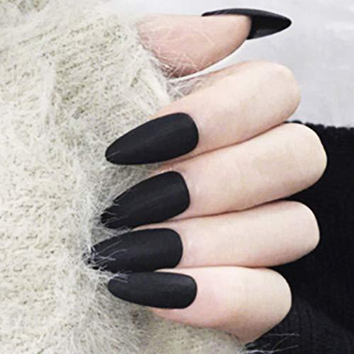 Fairvir noir mat faux ongles pointe couverture complète acrylique faux ongles punk clip de mode de la mode sur les ongles pour les femmes et les filles (24pcs)