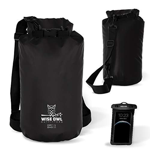 Wise Owl Outfitters Dry Bag - Thick Durable Waterproof Bags - Fully Submersible Roll Top Drybag Great for Kayak Boat Water Sports & Camping - 5L 10L and 20L Sizes