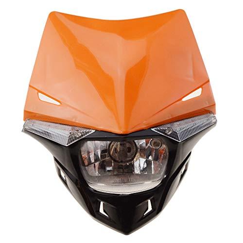 GOOFIT Faro Delantero Moto, H4 LED Universal 12V 35W Homologado Supermoto Motocross para Bicicleta Cafe Racer ATV Naranja