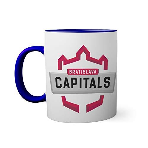 Bratislava Capitals Iclinic Ice Hockey Eishockey League Austria Blue Coloured Inside With Matching Handle Mug   Funny Novelty Mugs For Coffee Tea 330ml