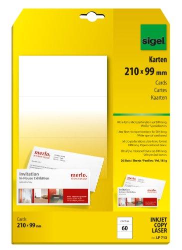 SIGEL LP713 PC-Korrespondenz-Karten DIN lang, beidseitig bedruckbar, weiß, 185 g, 60 Stück