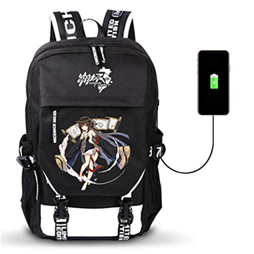 Fashion-zone Honkai Impact 3 Casual Backpack with USB Charging Port,Durable Travel Backpack