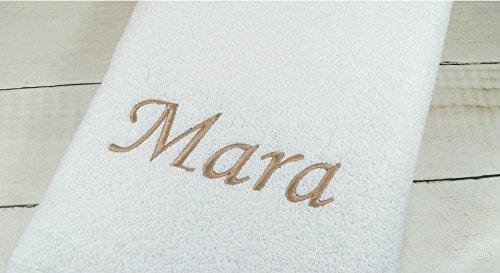 Duschtuch mit Namen bestickt Handtuch Geschenk Badetuch 500 g/m2 (70 x 140 cm, Weiß) (140223)