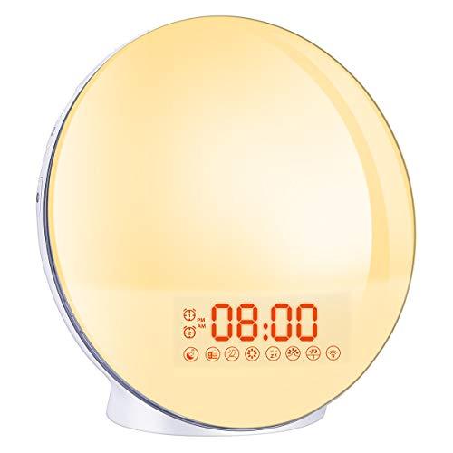 Wake Up Light,Cadrim Radio FM Reloj Despertador Reloj Despertador Dual + Cable USB, Control Táctil, Simulación de Salida del Sol/Puesta del Sol,Radio FM, 7 Sonidos Naturales, 7 Colores