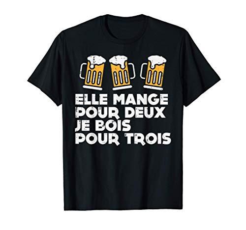 Homme Elle Mange Pour 2 Enceinte Drôle Grossesse Femme Cadeau T-Shirt