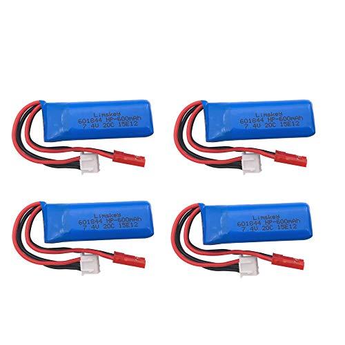7.4V 600mAh 601844 Batteria Lipo per WLtoys K969 K979 K989 K999 P929 P939 RC Ricambi per auto 2s 7.4v Batteria 4pcs
