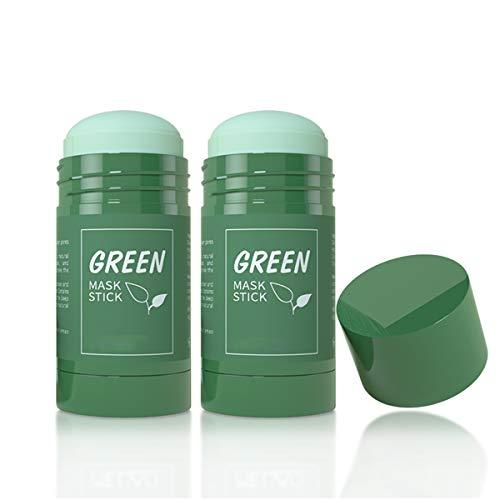2 Stück Green Tea Mask Stick, Grüner Tee Maske Stick für Gesicht, Purifying Clay Stick Mask für Mitesser entfernen, Anti-Akne-Ölkontrolle & Porenreinigung für alle Hauttypen Frauen und Männer