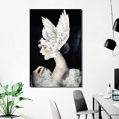 tzxdbh Nordic Creative Poster Beauty Girl met witte dove Painting Modern Home Decoration Canvas Art Wall Pictures voor de woonkamer in groot 60x80cm Geen frame