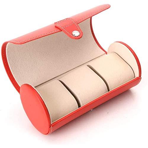 ZHANG Cajas de Reloj Rojo Caja de Reloj de 3 Cilindros Almacenamiento Inteligente Reloj de Cuero Cajas de Joyería para El Hogar de La Tienda