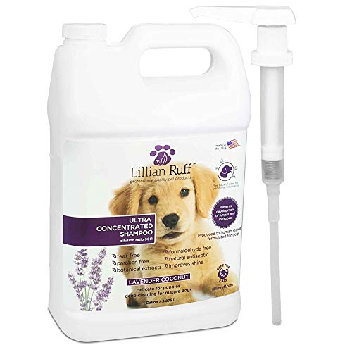 Lillian Ruff Professional Dog Shampoo with Dispenser Pump – Concentrated Dog Shampoo with Aloe – Tear Free Lavender Coconut Scent – Soothe &...