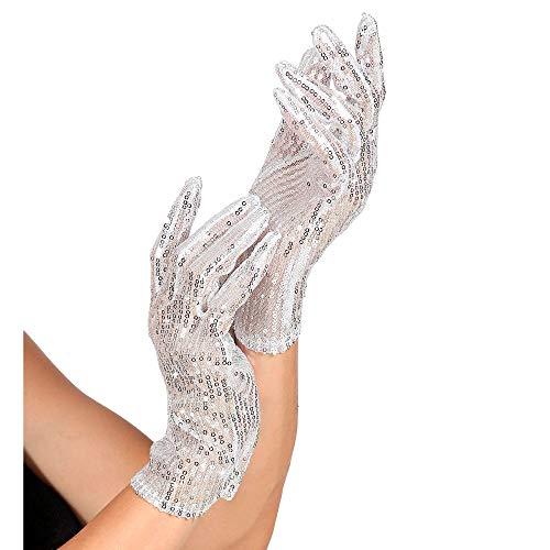 Widmann 1455A Paillettenhandschuhe, Unisex– Erwachsene, Silber, Einheitsgröße
