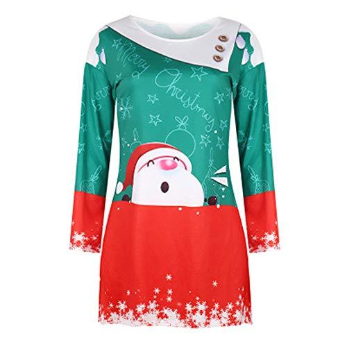 LIGHTOP Vestido De Navidad para Mujer Fiesta De Navidad con Estampado De Navidad Vestido Largo Y Largo De Navidad Feo Adecuado para Fiestas De Halloween
