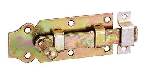 GAH-Alberts 115388 Türriegel | gerade, mit Knopfgriff und befestigter Schlaufe | galvanisch gelb verzinkt | Platte 100 x 44 mm