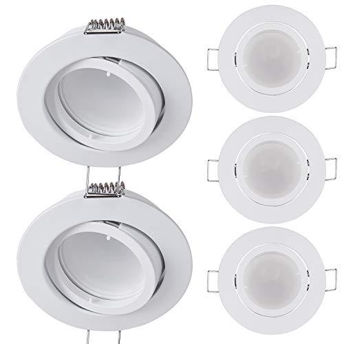 5x LED Einbaustrahler rund - Weiß 5 Watt warmweiß 230V, dimmbar – GU10 Modul Einbauleuchte schwenkbar Ø 68mm Lochmaß – Einbau-Spot Decken-Strahler Deckeneinbaustrahler Deckenspot Deckeneinbauleuchte