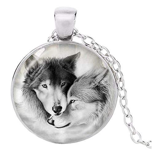Unbekannt Anhänger Halskette Bedruckt Paar Wolf, Kette Silber.
