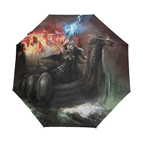 DUILLY Automatischer Regenschirm zum Öffnen/Schließen,Gewitter Wikinger,Winddichter, wasserdichter, schnell trocknender, Leichter, kompakter, zusammenklappbarer Kleiner Sonnenschirm