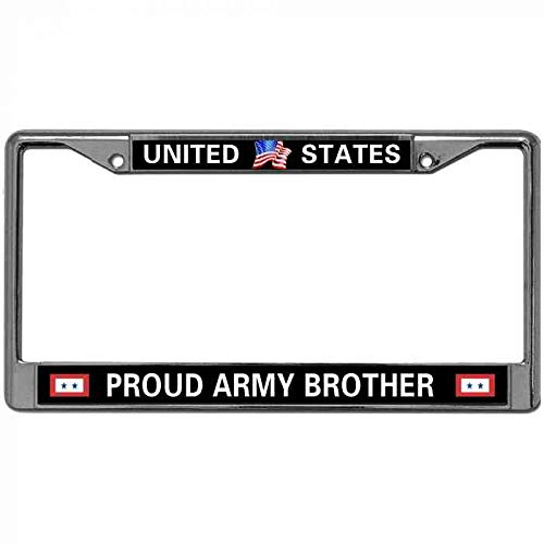 License Plate Frame Zinc Metal Frame Pack License Plate Cover with 2 Screws and Caps Fits Standard US License Plates United States Proud Army Brother License Plate Metal Cover Love US Army Quotes