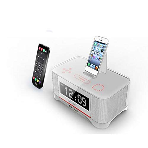 ZJHNZS Bluetooth-Lautsprecher LCD digital fm Radio wecker NFC Bluetooth Lautsprecher Fernbedienung für iPhone 6 7 8 x für iPhone 6s 7 8 Plus für Samsung, weiß