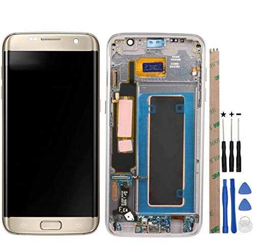 HYYT Replacement For Samsung Galaxy S7 Edge G935F G935FD G935W8 G9350 LCD Digitizer Screen LCD Display and Touch Screen With Frame Full Assembly (gold)