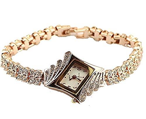 lujiaoshout Cristal de Las Mujeres del Reloj del Cuarzo Elegante Reloj de Pulsera del Brazalete del rombo Plateado Relojes de Pulsera-Oro