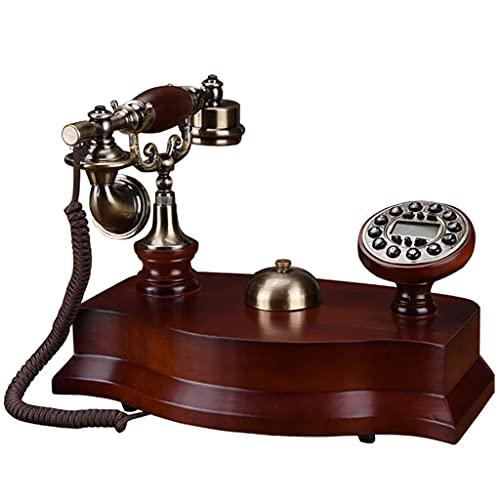 MHTCJ Teléfono de Madera Maciza de teléfono Fijo Antiguo Europeo con identificador de Llamadas, dial de botón, teléfono retroiluminado, Tono de Llamada mecánica (Color : Electronic Ringtone)