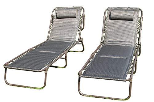 SET OF 2 Luxury Padded Lay Flat Garden Sun Loungers in Brown Tweed Weatherproof Textoline