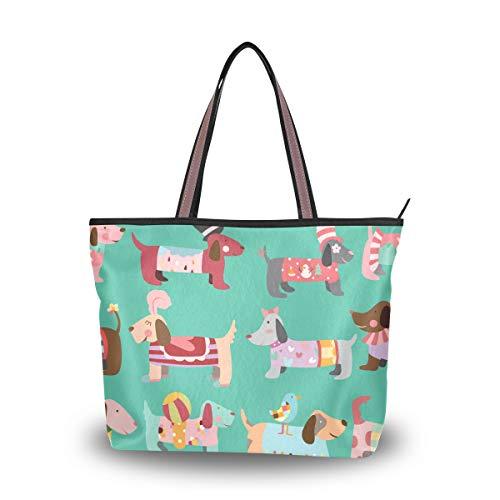 Ahomy Umhängetasche mit süßem Hunde-Muster, Handtasche für Outdoor, Fitnessstudio, Wandern, Picknick, Reisen, Strand, Mehrfarbig - multi - Größe: M