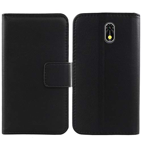 """Gukas Genuine Leather Case for NUU A6L 5"""" Wallet Premium Flip Protection Cover Skin Pouch with Card Slot (Black)"""