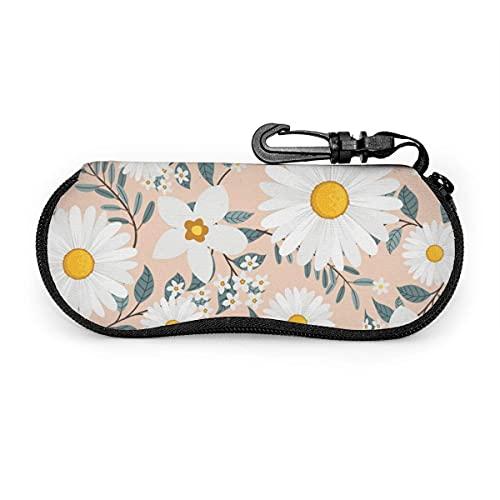 Funda de Gafas Hojas de guirnalda de flores de margarita blanca Ultra Ligero Neopreno Suaves viaje Estuche para Gafas de caso Bolsa con Clip de Cinturón