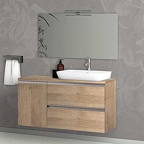 Mobile bagno sospeso 120 cm per lavabo da appoggio, serie Master 2 cassetti con anta, top e specchio INCLUSI (Rovere Miele)