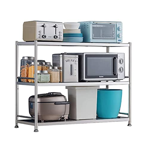 Microwave Cart Stand Kitchen Baker's Rack Utility Storage Shelf, Height Adjustable Microwave Stand 3-Tier for Spice Rack Organizer Workstation Shelf, 210bls Heavy Bearing ( Size : 39.4inches(100cm) )