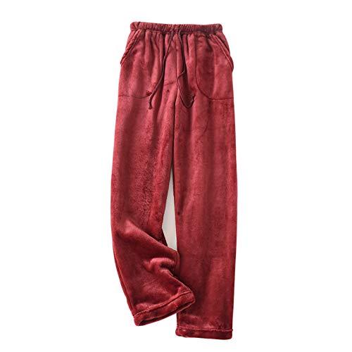 Pantalones de pijama de forro polar para mujer, pantalones largos para invierno, con cordón, pantalones para estar por casa, para el tiempo libre con bolsillos borgoña L