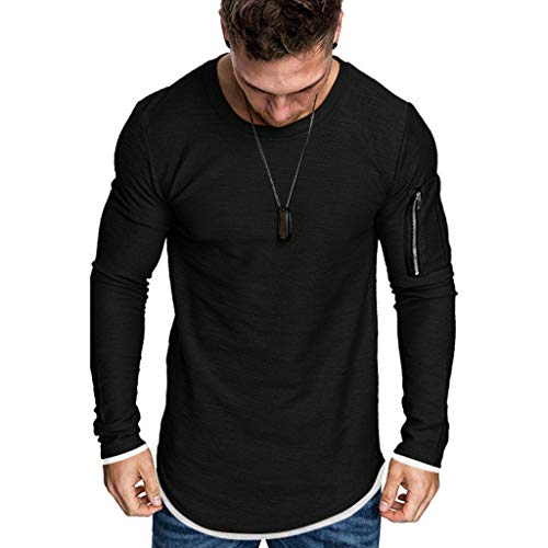 Find Cheap ANJUNIE Men's Simple Solid Color Muscle T Shirt, Pocket Fake Two-Piece Top Blouse Pullove...