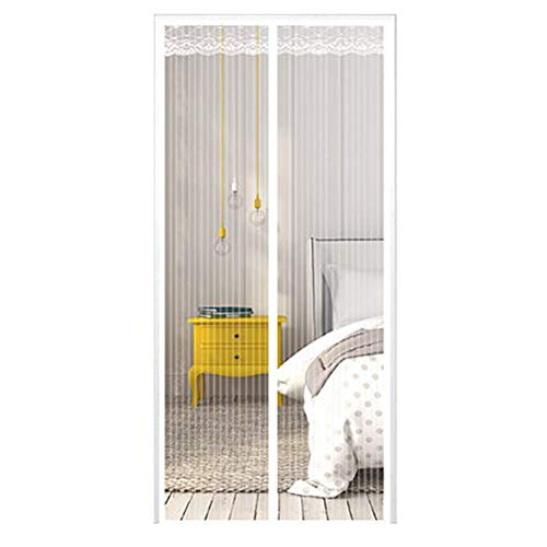 MWPO Magnetische Insektentüren Bildschirm weiß, Magnetische Bildschirmtüren für Balkonschiebetüren Wohnzimmer Kinderzimmer, Weiß, 70 * 200cm