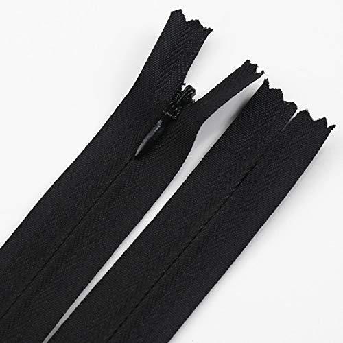 JINQIANSHANGMAO Cremallera 10 unids 3# Nylon Bobina Invisible Cremallera 55 cm Larga Cremalleras Negras para Coser Ropa Accesorios Personalizados DIY (Color : Black, Size : 55cm)