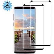 Lighty Compatible [2 - Pack] Samsung Galaxy S9 Tempered Glass Screen Protector,[9H Hardness][Anti-Scratch] [Anti-Fingerprint][3D Curved][Ultra Clear] Screen Protector for Galaxy S9(Black)