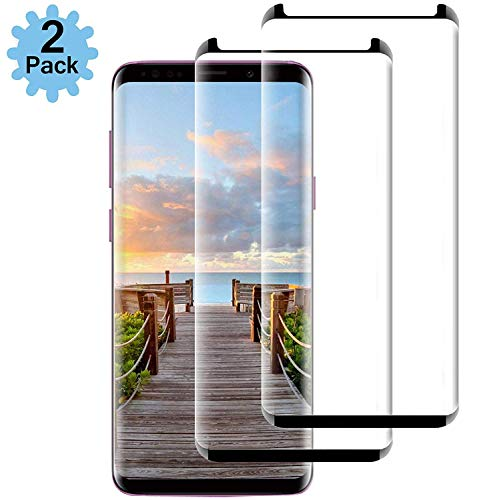 [2-Pack] Galaxy S9 Black Screen Protector,Cafetec [9H Hardness] [Anti-Fingerprint] [Anti-Scratches] Tempered Glass Screen Protector Film Compatible with Samsung Galaxy S9.