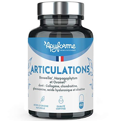 Articulations • Glucosamine Chondroitine MSM, Boswellia Serrata, Harpagophytum • 1 Mois, 60 Gél. • Fabriqué en France par Apyforme