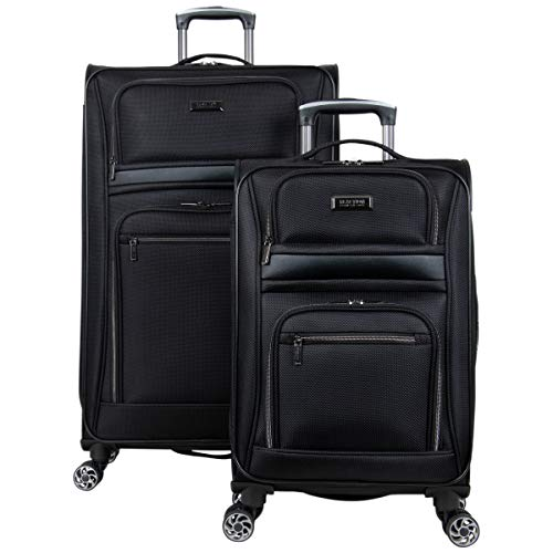 Kenneth Cole Reaction Softside Expandable 8-Wheel Spinner Travel Luggage Set, Black, 2-Piece (20' Carry-On / 28' Check Size)