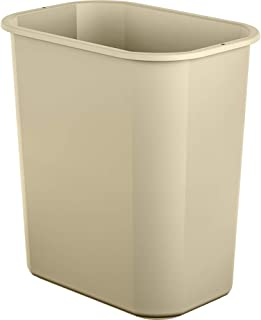 AmazonBasics 3 Gallon Plastic Commercial Trash Waste Basket, Beige, 4-Pack