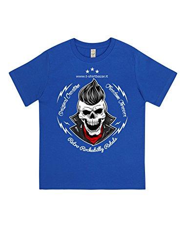 Camiseta para niño de algodón orgánico 100% idea regalo personalizable calavera Rebel Rock turquesa 7-8 Años