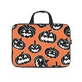 Facbalaign Funda para portátil con asa, diseño de calabaza de Halloween, Blanco, 17 pulgadas,