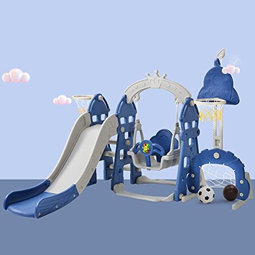 Juego de escalador y columpio 5 en 1, con tobogán extralargo, cinturón de seguridad, juego de tobogán para niños con soporte de baloncesto, interior y exterior, juego de tobogán para niños,Blue
