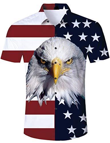 RAISEVERN Maglietta Unisex con Aquila Hawaiana da Uomo T-Shirt abbottonate a Maniche Corte Tropicale