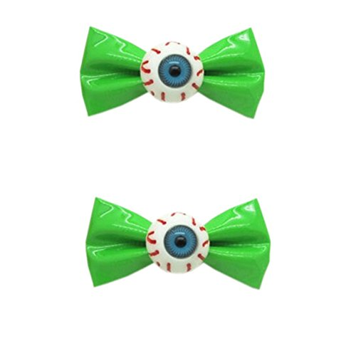 [1 Paire] Clips Zipper style GREEN bowknot cheveux Eye boule bowknot cheveux