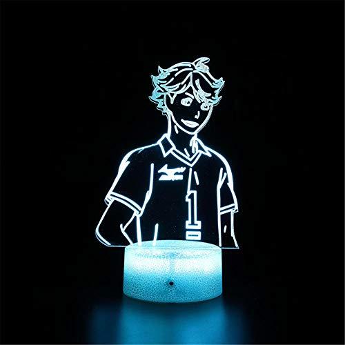 Luz de noche 3D para niños lámpara de ilusión 3D Haikyuu A 16 colores y control remoto táctil – mesa de noche iluminación regalos juguetes de niñas niño niños para cumpleaños vacaciones Navidad